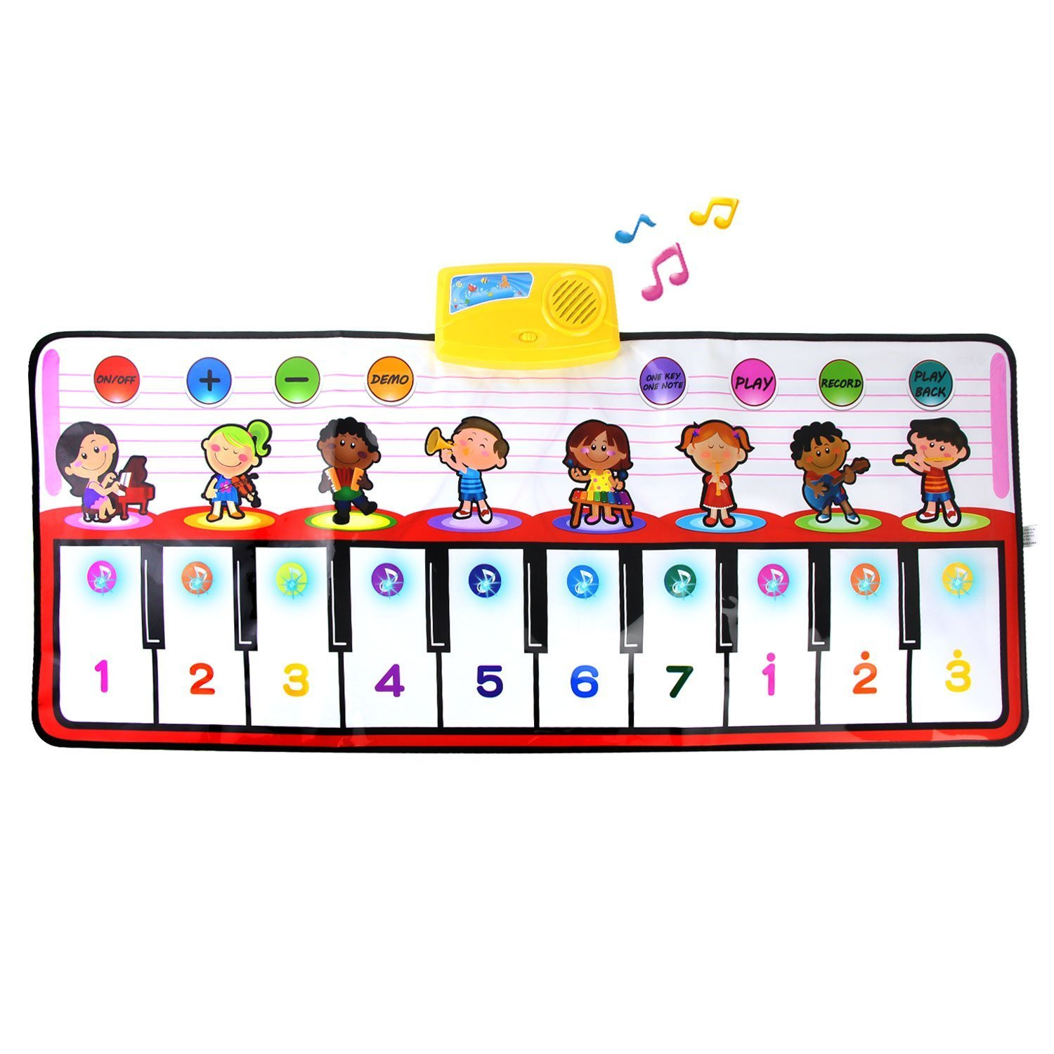Coolplay Piano Play Music Mat,10 key Step on Keyboard,8 Selectable Musical Instruments + Play -Record -Playback -Demo-mode