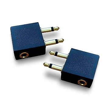 Mobi Lock Adaptadores Premium Avión con Chapado Dorado Convertidores para Auriculares/Cascos (2 Unidades