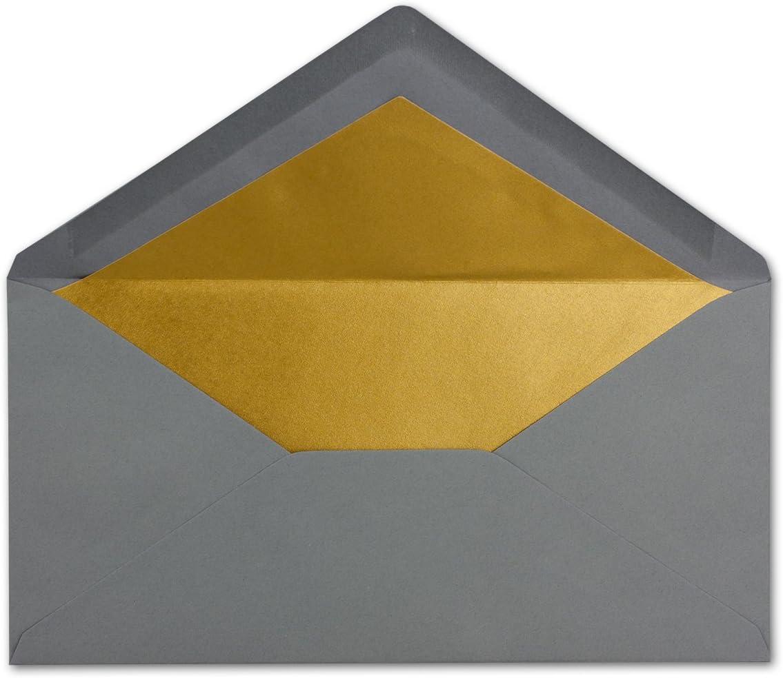 incollaggio a umido con gomma DIN lungo gold Buste fodera oro argento metallizzato 50 Umschl/äge Naturwei/ß