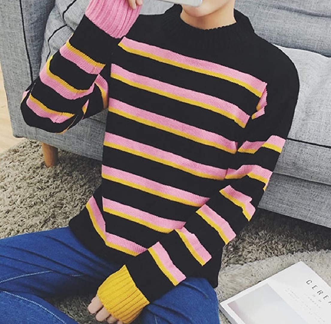 Vska Men Fresh Long-Sleeve Hit Color Crewneck Stripe Pullover Sweater