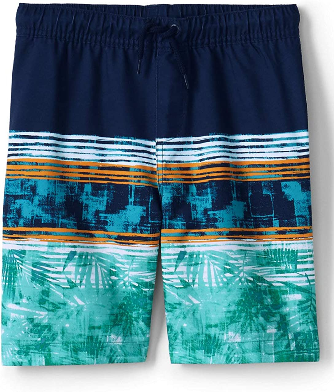 Lands End Boys Print Swim Trunks