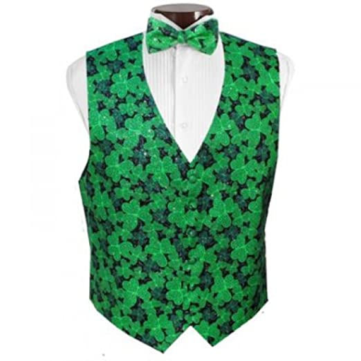 a49d16354d32 Shimmering Shamrocks Tuxedo Vest and Bow Tie Size Large at Amazon ...