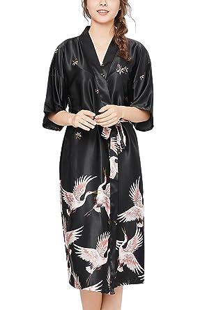 f7e0243e81 Dolamen Mujer Vestido Kimono Satén