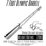 7 Foot Olympic Barbell with Spring Collar Fitness Gym Exercise Equipment