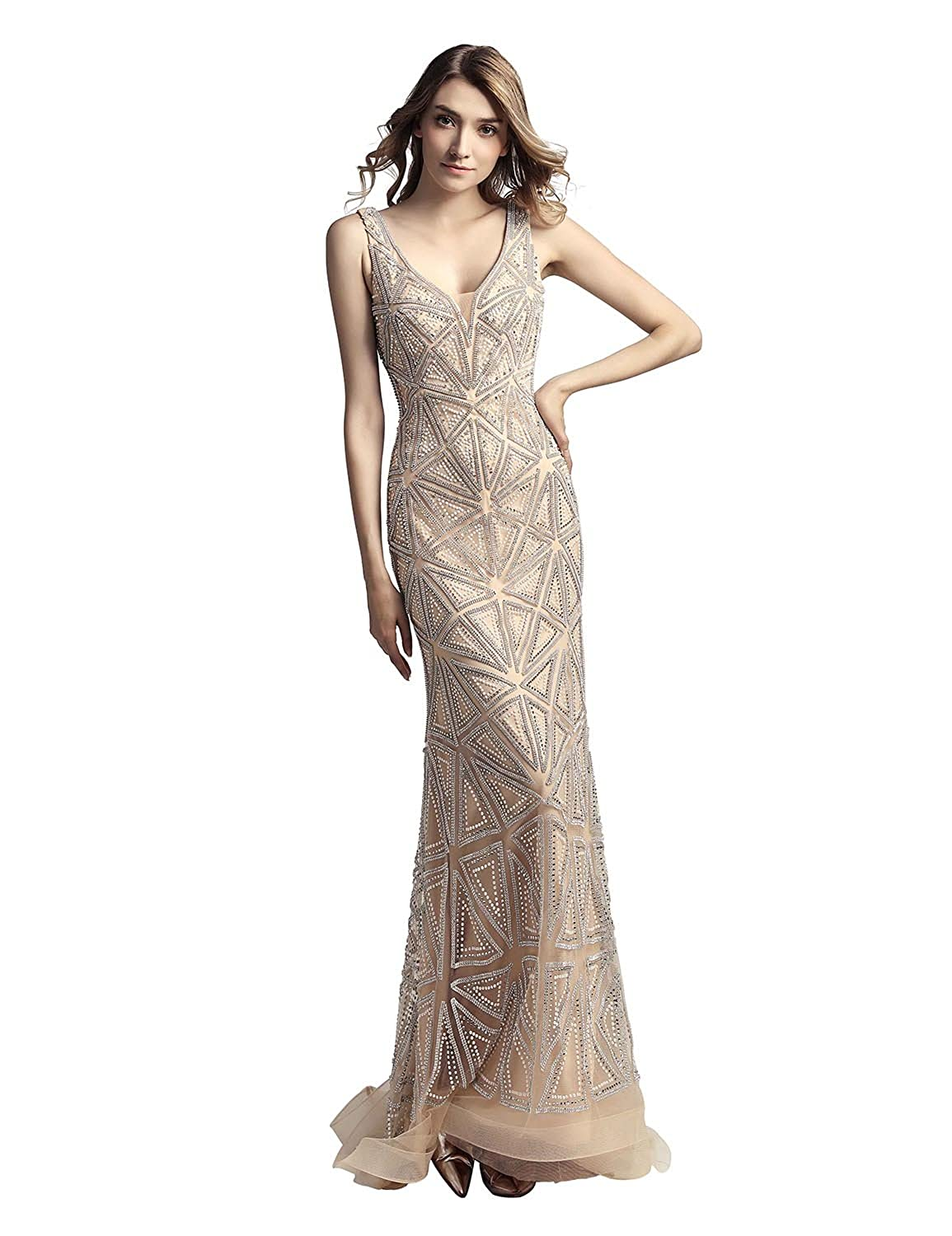 423champagne Sarahbridal Women's Tulle HiLow Beading Prom Dresses Evening Homecoming Cocktail Gowns
