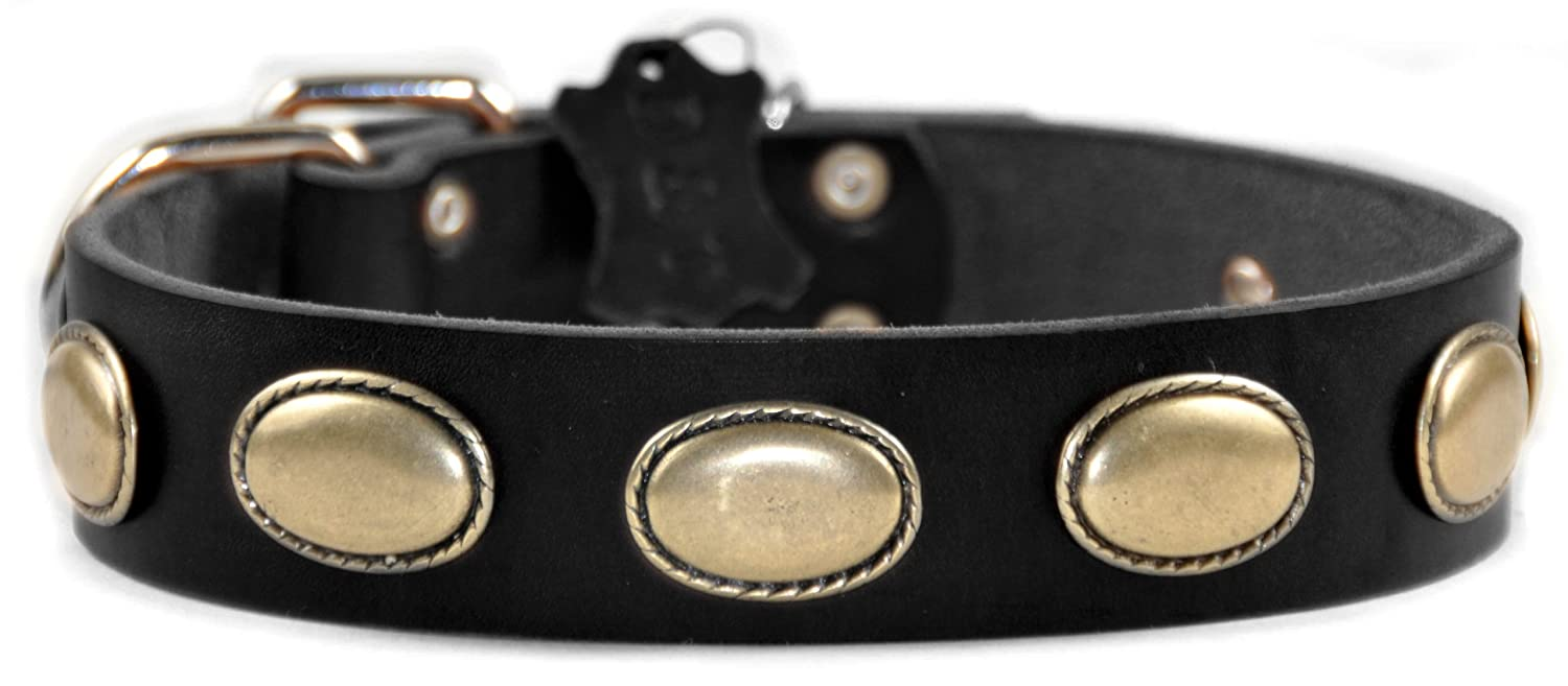 Dean and Tyler RETRO RULZ , Leather Dog Collar with Brass Oval Hardware Brown Size 26-Inch by 1-1 2-Inch Fits Neck 24-Inch to 28-Inch