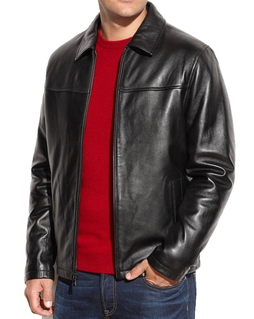 Fashion Store FS Lambskin Leather Men's Lambskin Leather Jacket XX-Large Black by Fashion Store