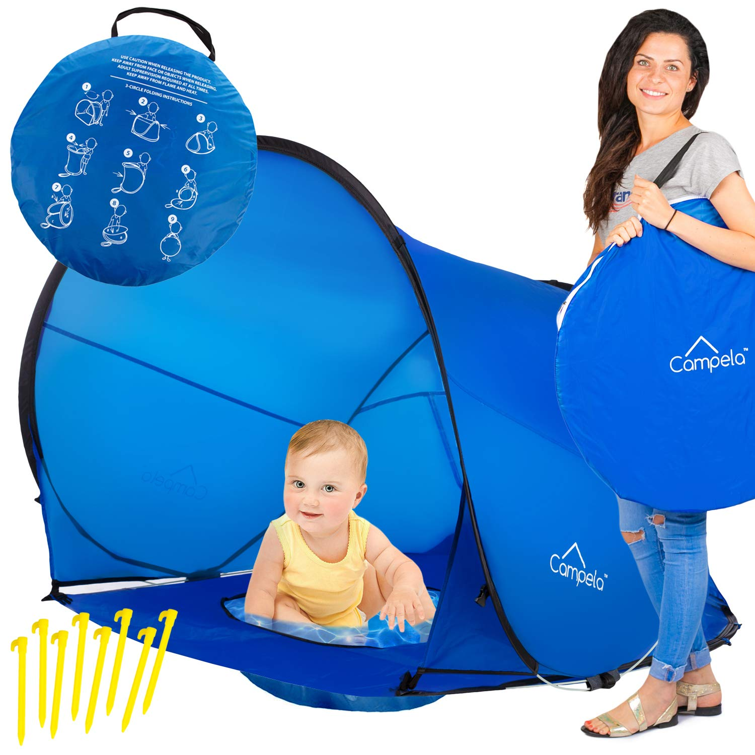 9c1912030 Amazon.com : Campela Baby Beach Tent UV (with Pool) - Pop Up Sun Shelter UV  Protection Beach Shade for Toddler, Infant and Family Gear : Sports &  Outdoors