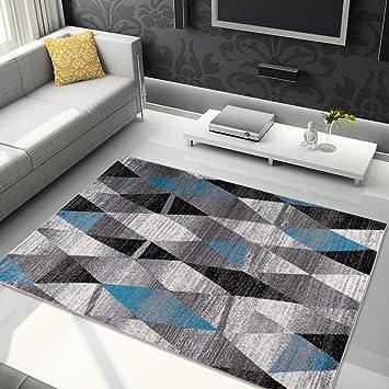 Tapetto Salon Moderne Couleur Gris Bleu Dessin Géométrique