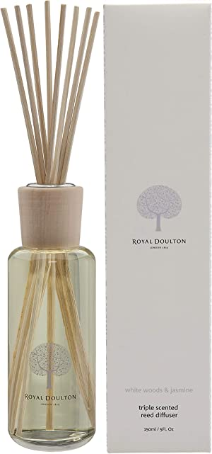 Royal Doulton Luxury Triple Scented Reed Diffuser - White Woods & Jasmine - Glass, Gift Set, Reed Sticks. Long Lasting Natural Scented (3+ Months) 150 ml / 5. Oz
