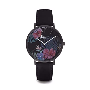 Reloj Estampado de Flores Aloha Kaua | Reloj Floral Negro | 38mm ...