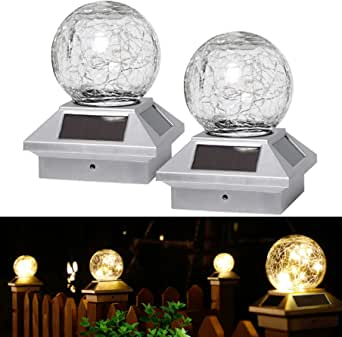 LIANGLOME Solar Post Cap Lights,Crackle Glass Ball Solar Post Lights Waterproof,Fits 3.5x3.5 4x4 5x5 6x6 Wooden Posts , Patio Post Lights Solar Post Lights for Yard Landscape-Silver(2 Pack)
