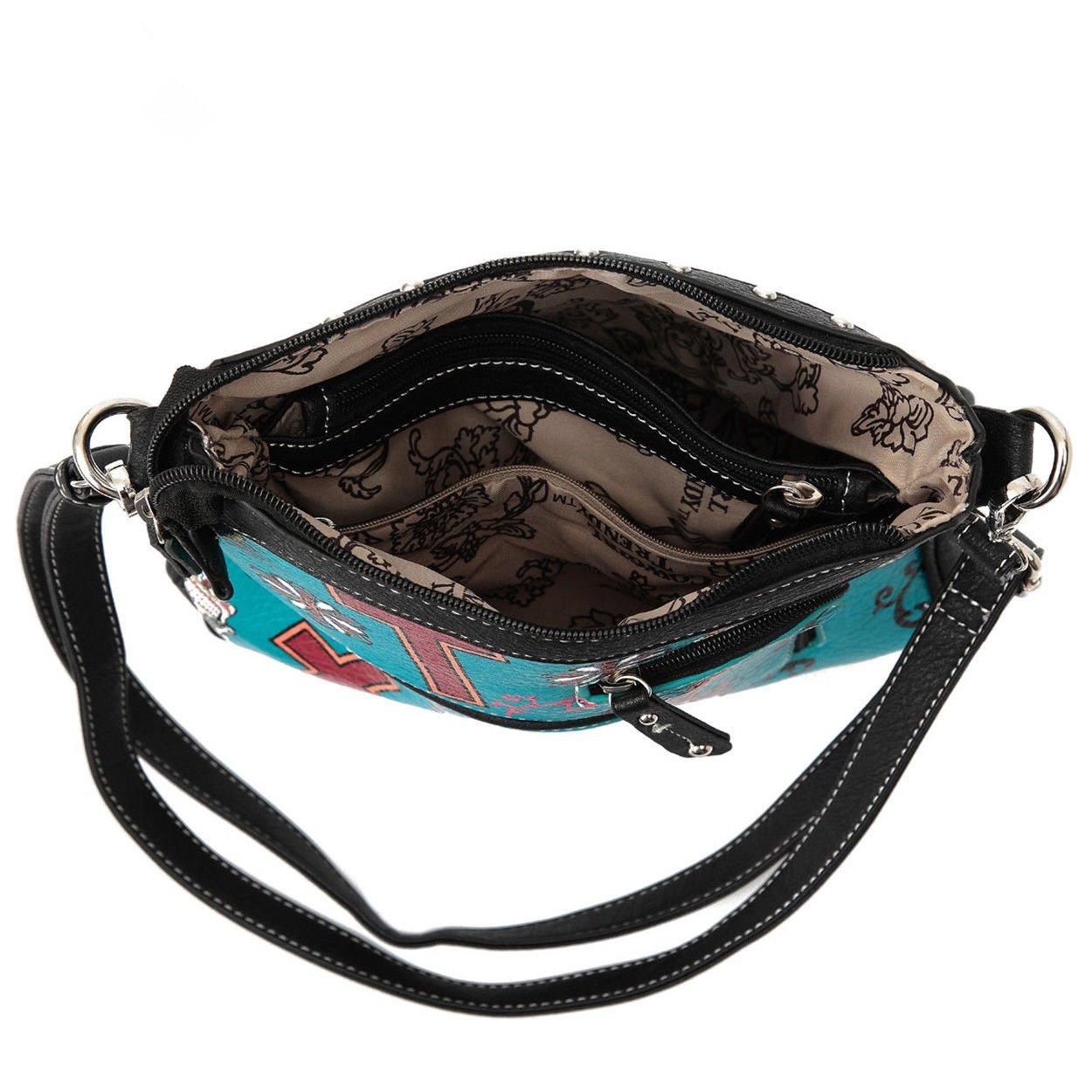 Western Sugar Skull Mini Handbag Girl Crossbody Purse Fashion Single Shoulder Bag Phone Purses (Turquoise) by WESTERN ORIGIN (Image #4)