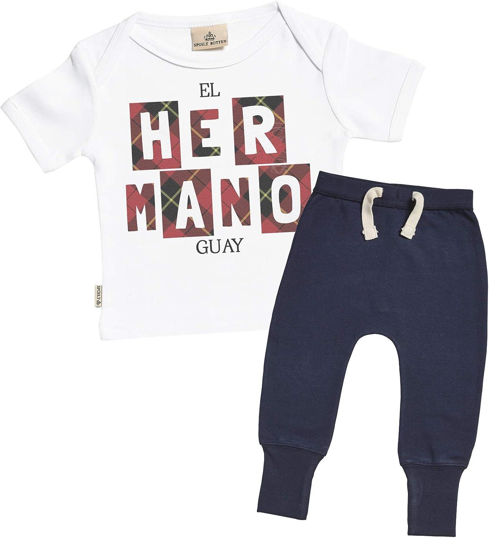 SR - El Hermano Guay Regalo para bebé - Blanco Camiseta para bebés & Gris Pantalones de Jogging para bebé - Ropa Conjuntos para bebé