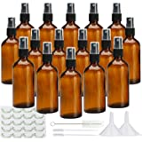 Glass Spray Bottles, Maredash 4OZ Refillable Amber Glass Bottles with Cap and Glass Dropper for Essential Oils, Colognes…