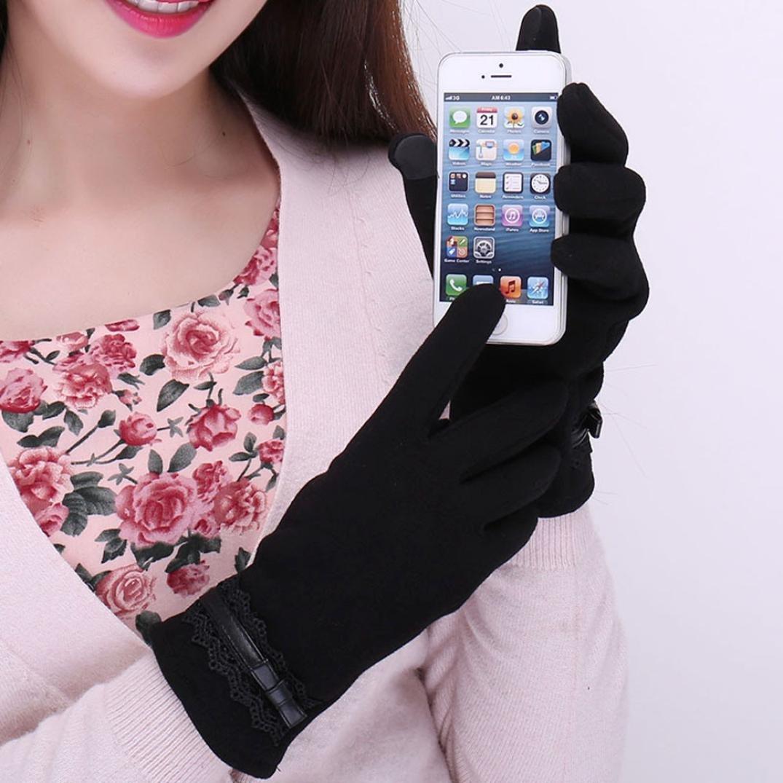 Damen Kaschmir Handschuhe Keepwin Womens Winter Artificial Leather Gloves Anti Slip Thermal Winter Sports Leather Touch Screen Gloves
