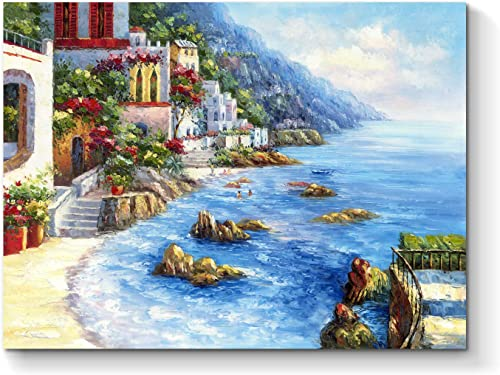 Abstract Seaside City Wall Art Coastal Town Hand Painted Artwork Painting on Canvas for Bedroom 24 x 18 x 1 Panel