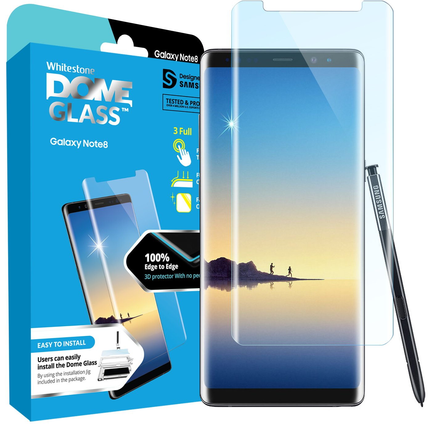 Dome Glass Galaxy Note 8 Screen Protector Tempered Glass Shield, [Liquid Dispersion Tech] 3D Curved Full Coverage, Easy Install Kit and UV Light for Samsung Galaxy Note 8 (Replacement Only) by Dome Glass