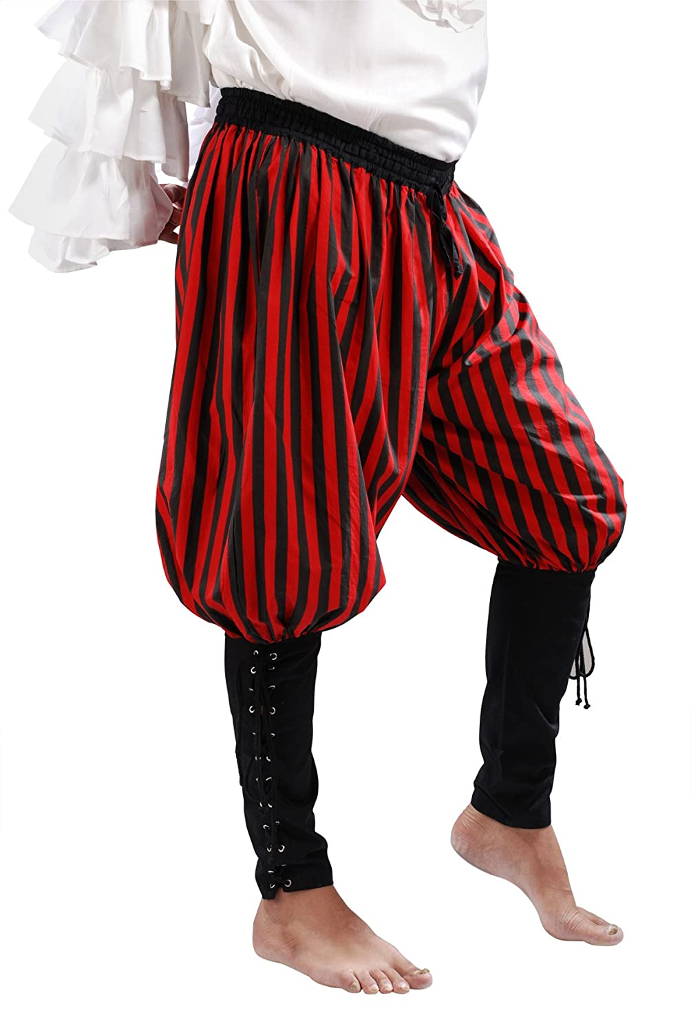 Deluxe Adult Costumes - Men's red & black stripe buccaneer pirate pants costume by Armor Venue