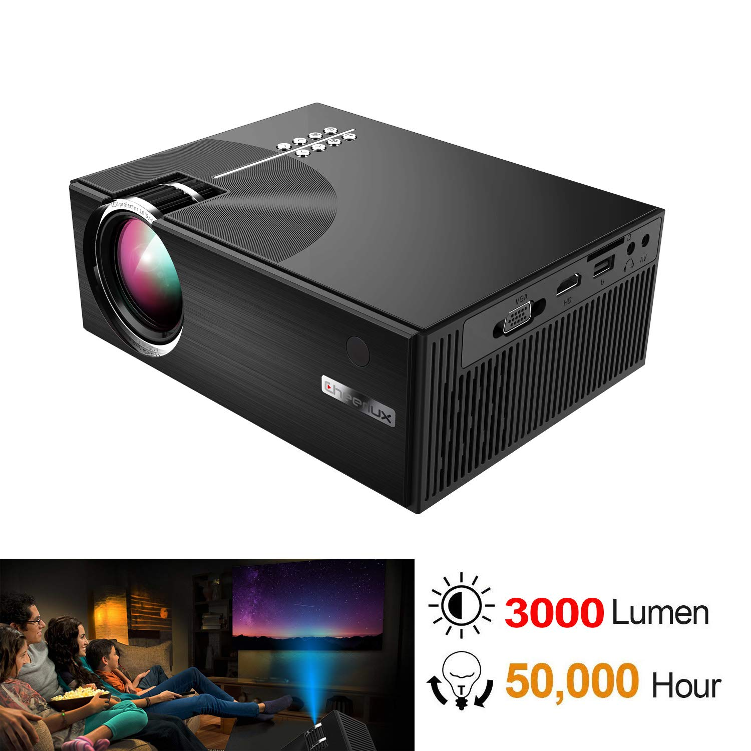 TOPRUI Mini HD LED Projector, Portable 3000 Lumens LCD 1080P Video Projector with Low Fan Noise Stereo Speaker, Support HDMI USB VGA for Home Cinema TV Party,Outdoor Movie Night 2018 Upgraded