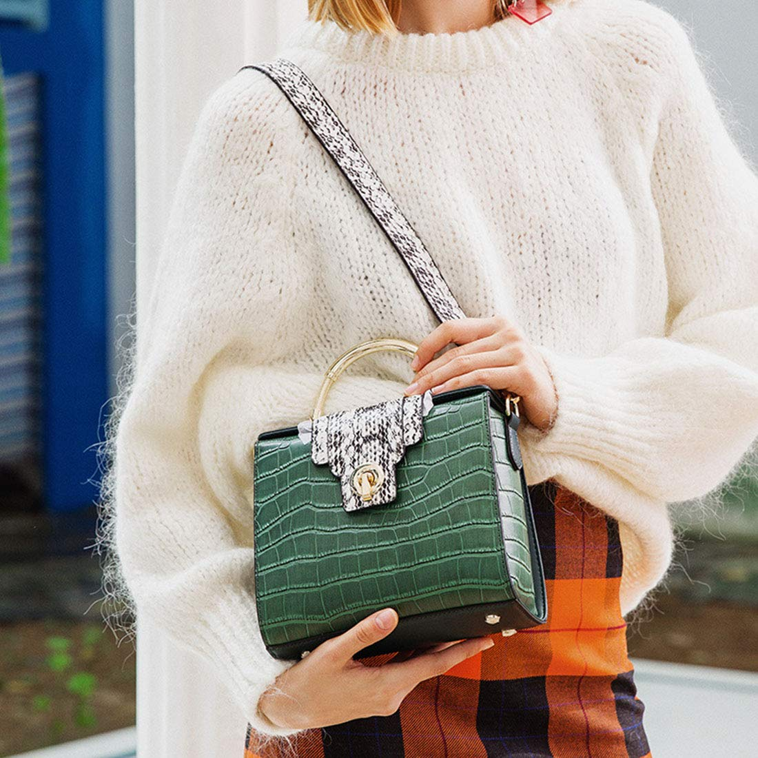 Green Carriemeow Simple Retro Lock Crocodile Kelly Bag Square Leather Shoulder Bag Messenger Bag Color : Wine red