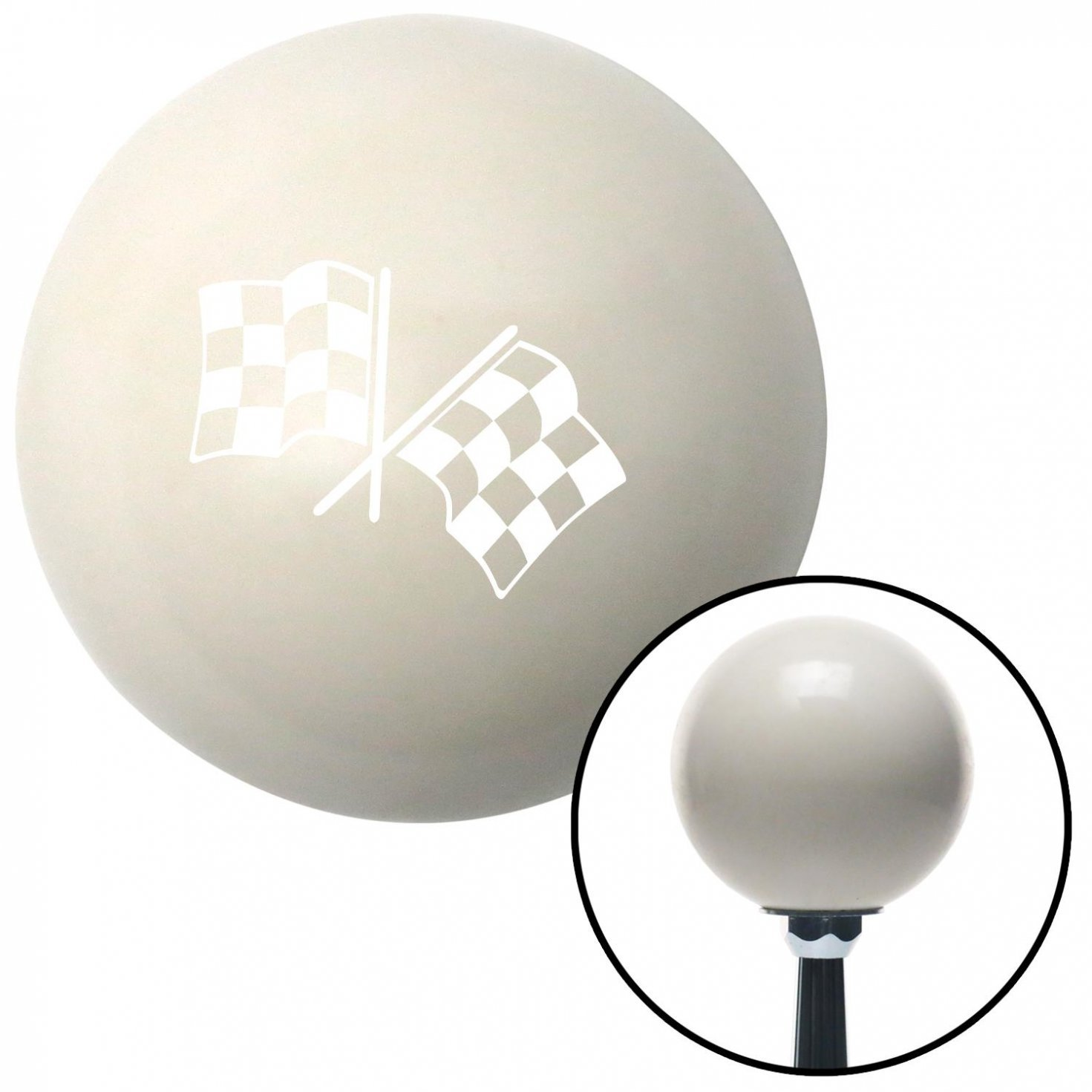 White Dual Checkered Flags American Shifter 30268 Ivory Shift Knob with 16mm x 1.5 Insert