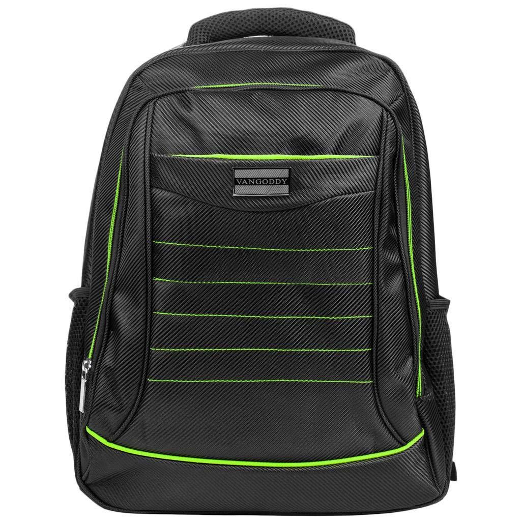 15.6インチ ノートパソコン用バックパック スクールコンピューターバッグ MSI/Asus/Acer/Dell/Gigabyte/Lenovo/LG/Huawei用 L ブラック  Black with Green Trim B07JDP9S1D