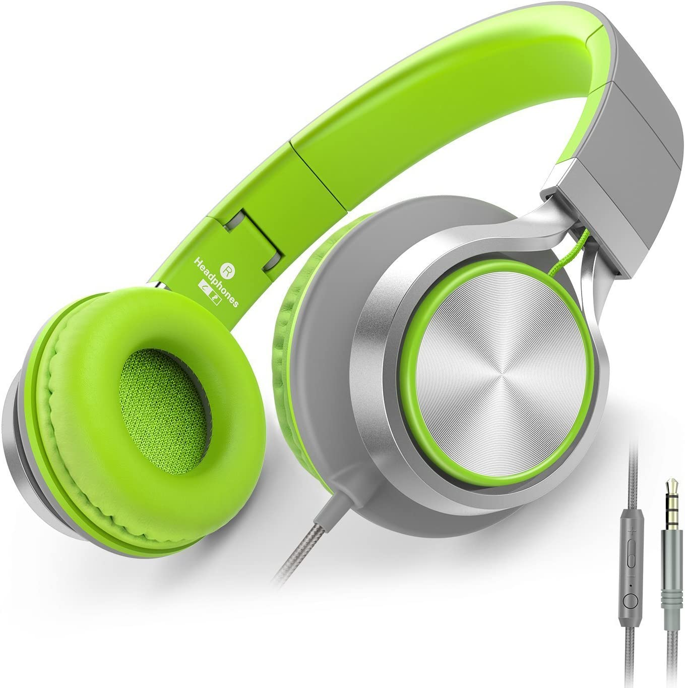 AILIHEN C8 Foldable Wired Headphones with Microphone and Volume Control for Cellphones Tablets Chromebook Smartphones Laptop Computer PC Mp3/4 (Gray/Green)