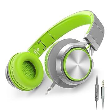 54626514491 Ailihen C8 Auriculares de Diadema Cerrados con Cable, Auriculares Plegable  con Micrófono y Control Remoto para Mp3, iPhone, Móvil Android, PC, Color  Verde y ...