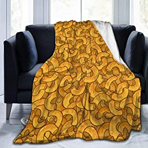 Mac N Cheese Blanket, Super Soft Light Weight Cozy Warm Fluffy Plush for Bed Couch Living Room