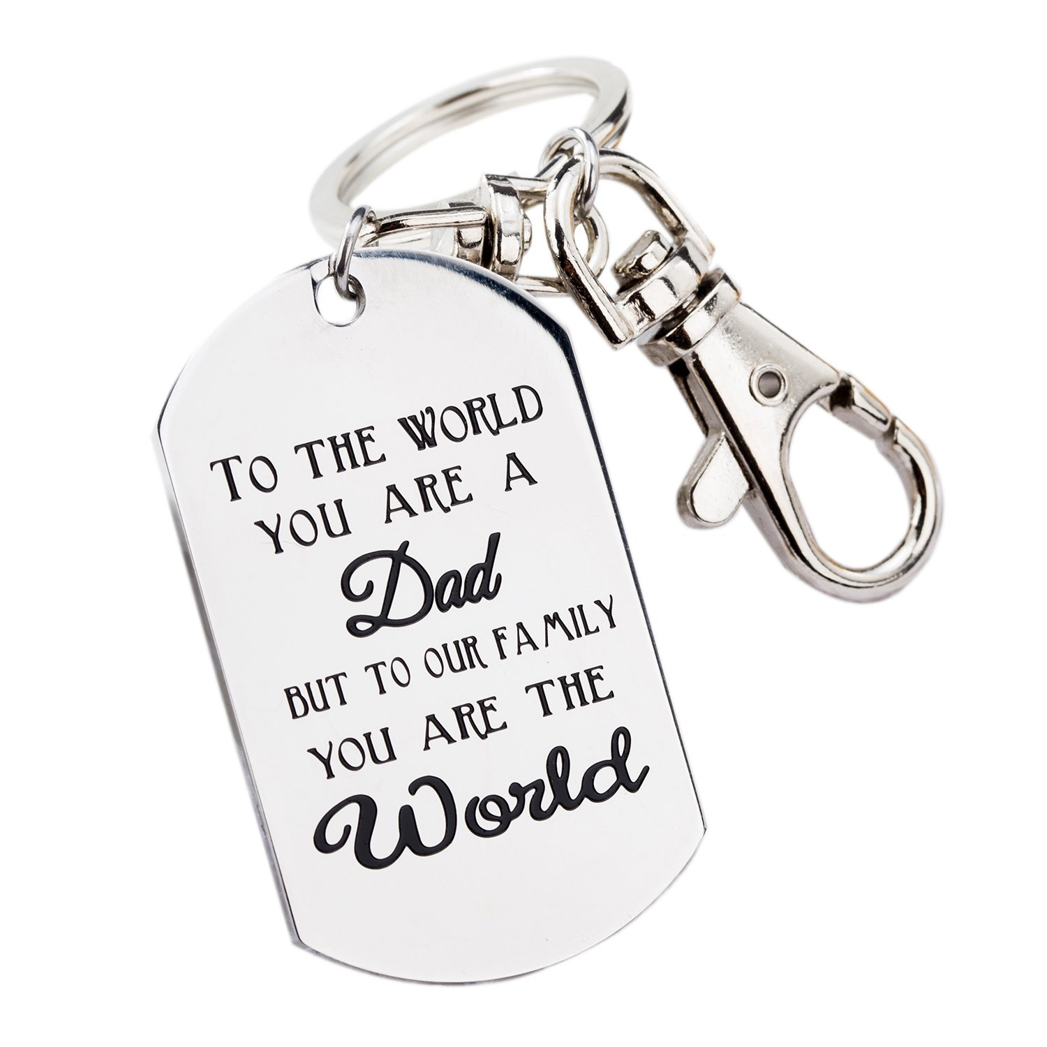 Fathers Day Gifts Mens Keychain Novelty Birthday Gift for Daddy Papa Stainless Steel KC-002