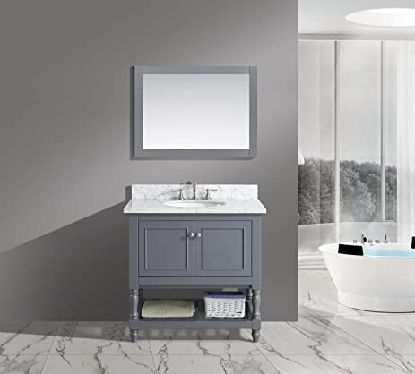 Single Bathroom Vanity Set with Carrara Marble Amazon com  Urban Furnishing Silvia 36 in