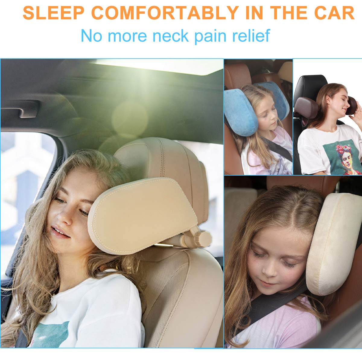 Car Headrest Pillow Buluby Upgraded U Shaped Travel Vehicle Seat Head Support 3rd Generation Brown