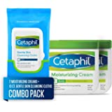 Cetaphil 丝塔芙 干性/敏感性肌肤保湿霜,不含香料,组合2瓶 16盎司(473ml) 面巾10