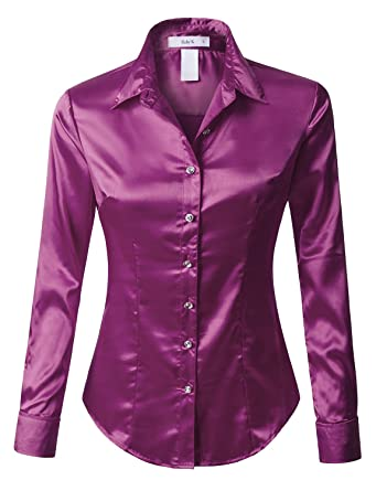 c6c5ba4b7 RK RUBY KARAT Womens Satin Silk Work Button Down Blouse Shirt with ...