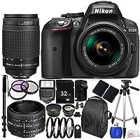 Nikon D5300 Digital SLR Camera (Black) w/ NIKKOR 18-55mm f/3.5-5.6G VR Lens, AF Zoom-NIKKOR 70-300mm f/4-5.6G Lens & AF NIKKOR 50mm f/1.8D Lens 22PC Accessory Kit - International Version (No Warranty)