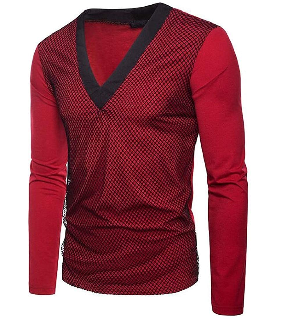 Tingwin Mens V-Neck Long Sleeve Mesh Fake Two Wild Solid Colored Top T-Shirt