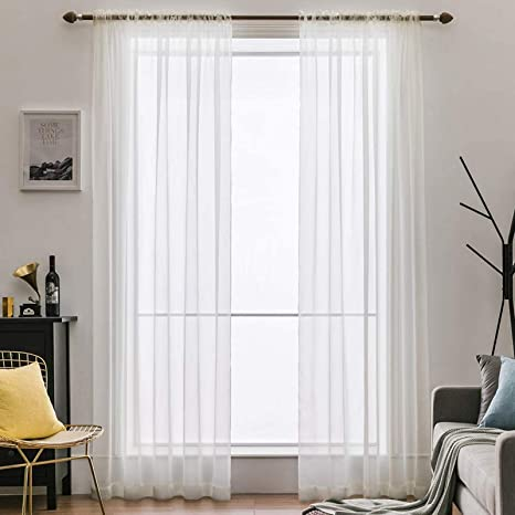 Miulee 2 Panels Solid Color Sheer Window Curtains Elegant Window Voile Panels Drapes Treatment For Bedroom Living Room 54x72 Inches Ivory Kitchen Dining