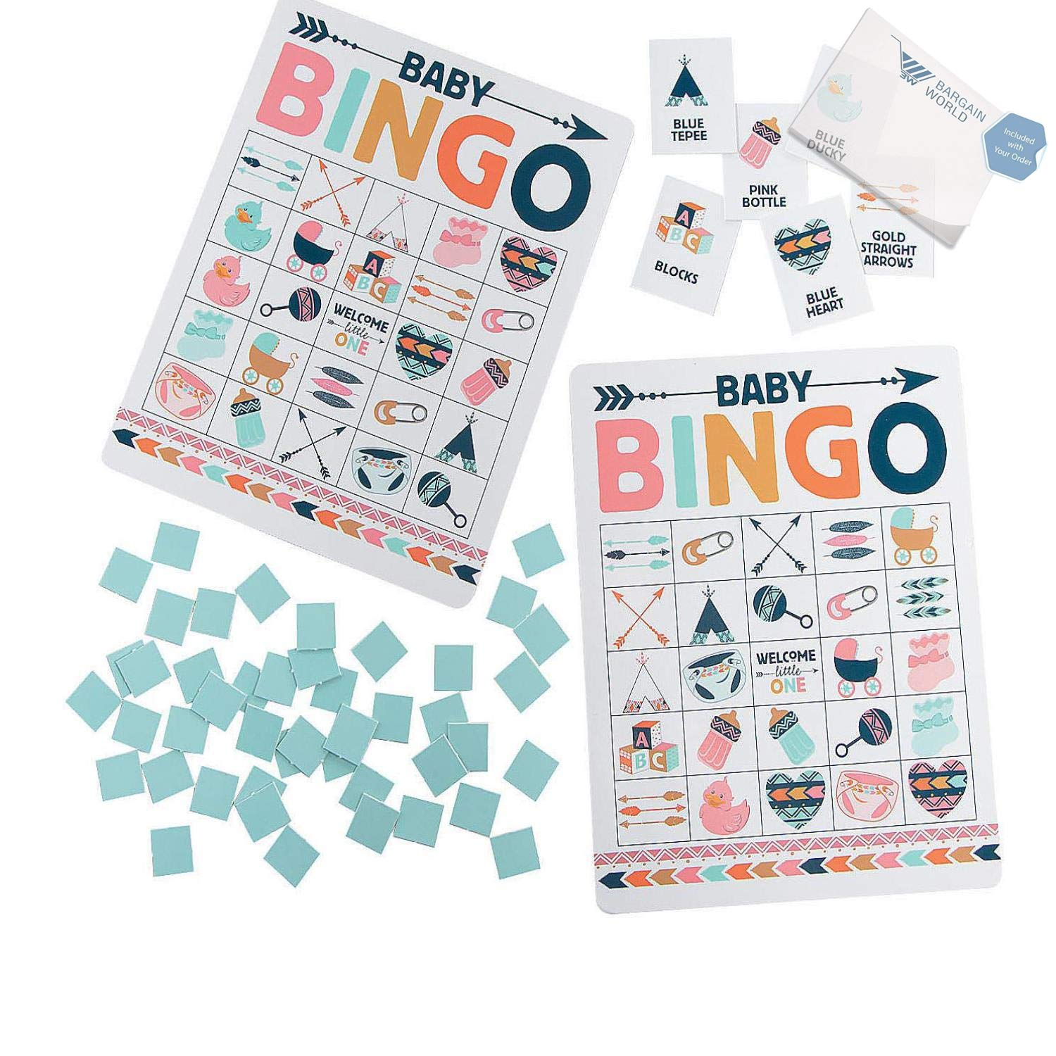 Bargain World Tribal Baby Shower Bingo Game (With Sticky Notes)