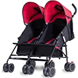 Costzon Twin Ultralight Stroller, Foldable Double Umbrella Stroller (Red)