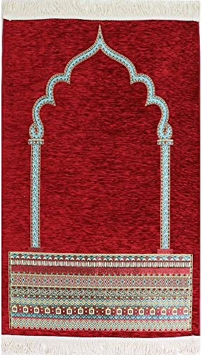 Modefa Turkish Islamic Luxury Woven Chenille Prayer Rug Janamaz Sajadah Tribal Pattern Red