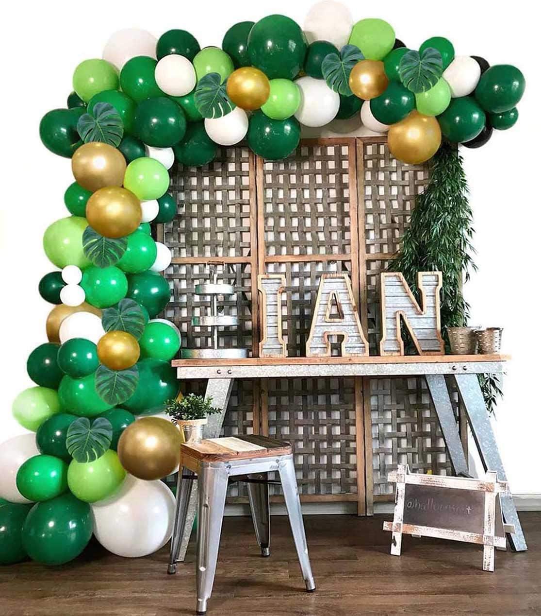1 Air Pump Safri Party Supplies and Favors 2 Balloon Tying Tools 16 Feets Arch Balloon Strip Tape Tresbro Jungle Safari Theme Party Decorations 175pcs 130 Latex Balloons 24 Green Palm Leaves