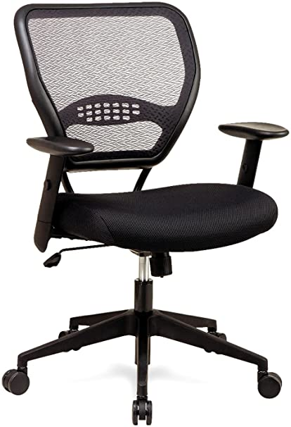Genial Space Seating SPACE 5500 Air Grid Mid Back Swivel Chair, Black, 20