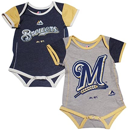 829a3d620 Amazon.com  Majestic Milwaukee Brewers Baby Infant 2 Piece Creeper ...