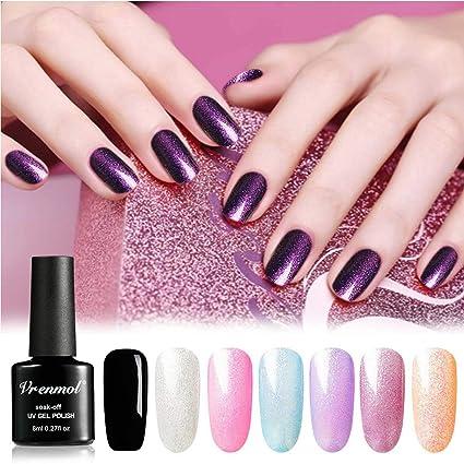 Vrenmol - Juego de 6 esmaltes de uñas de gel con purpurina + 1 kit de