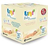 Uni Baby Yenidoğan Islak Pamuk Mendil 12li, Beyaz