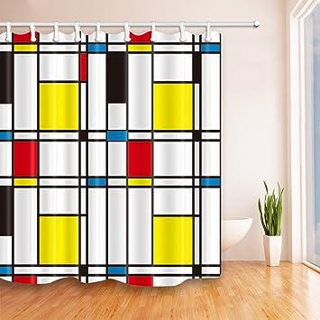 GoHEBE Geometrische Deko Duschvorhang Mondrian Malen Netz Plaid Vorh/änge mit Muster Blau Gelb Rot 70/x 70/cm Schwarz