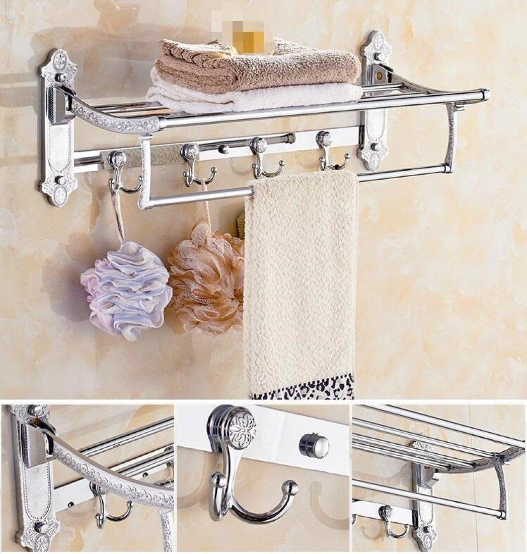 GL&G European luxury Silver Bathroom Bath Towel Rack Double Towel Bar Bathroom Accessories Bathroom Storage Organizer Shelf Bathroom Shelf Shower Wall Mount Holder Towel Bars,6023.513.5cm by GAOLIGUO (Image #1)