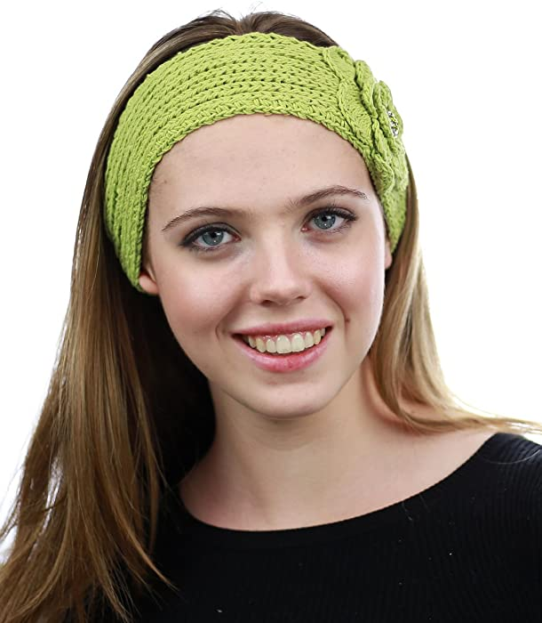 Jeweled Center Floral Hand Knitted Button Winter Headband