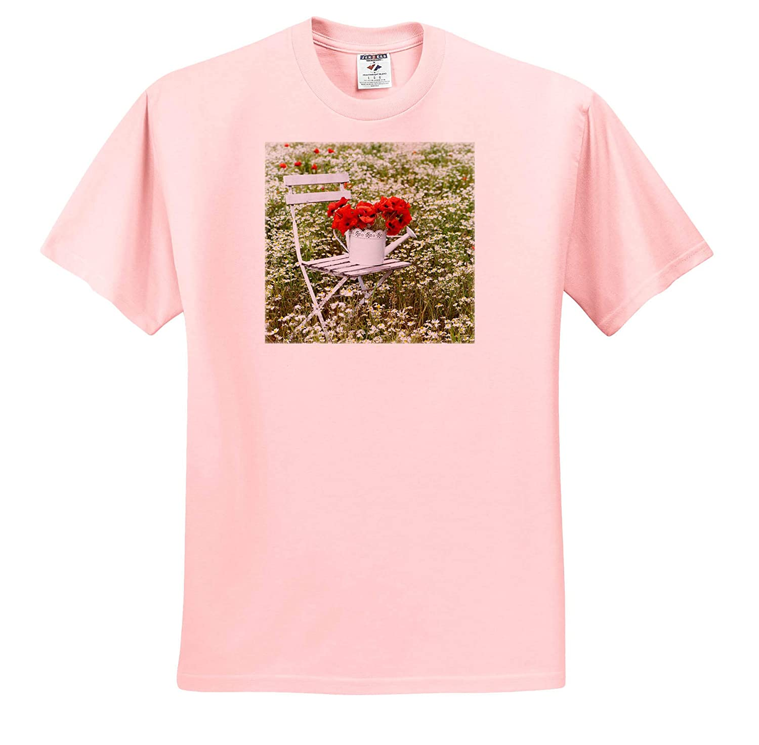 3dRose Uta Naumann Photography Stilllife Poppy Flowers On White Chair in A White Can in A Field of Daisies T-Shirts
